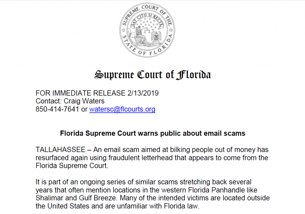 Florida Supreme Court warns public about email scams
